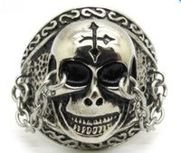 Wholesale Fingers Crossed - Cool Amazing Chain Locked Skull Cross Craved Men's 316L Stainless Steel Punk Finger Ring Jewelry Gift