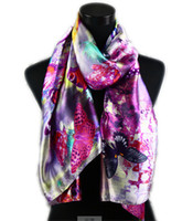 Wholesale Oil Painting Flower Purple - 1pcs Women's Fashion Satin Purple Butterfly in Flower Oil Painting Long Wrap Shawl Beach Silk Scarf 160X50cm