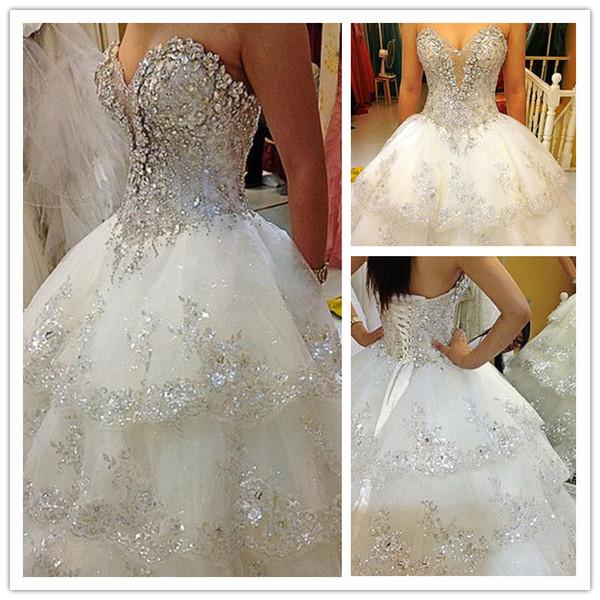 Ivory Rhinestone Beaded Appliques Sweetheart A Line Chapel Train Wedding Dresses Bridal Gowns H