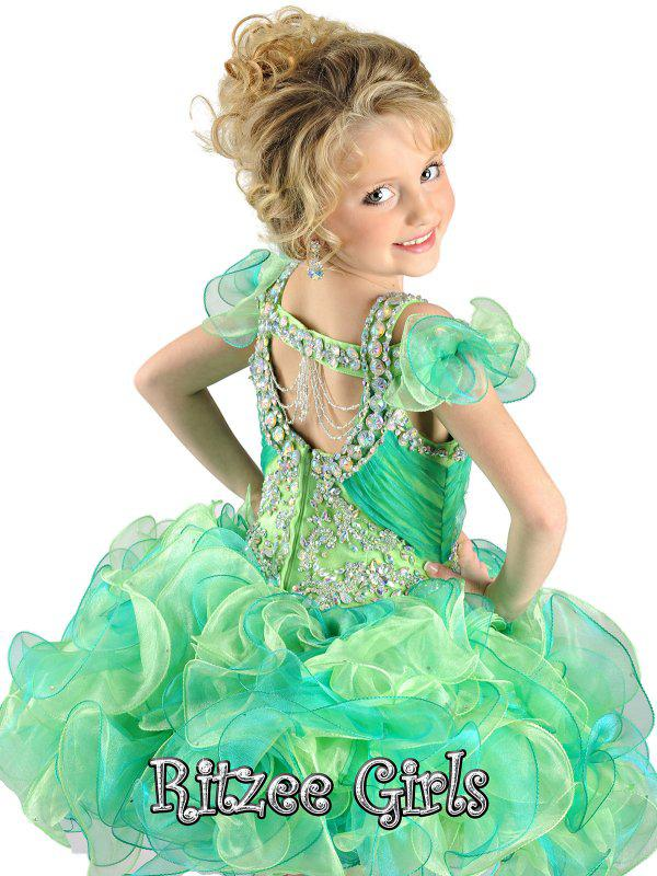 Bästa Sälj 2018 Ny Ankomst Cupcake Little Kids Outstanding Beaded Organza Little Girl Pageant Dress Flower Girl Dresses Ritz9811