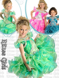 Wholesale New Cupcake Pageant Dresses - Best sell 2014 New Arrival Cupcake little Kids Outstanding Beaded Organza Little Girl Pageant Dress Flower Girl Dresses Ritz9811
