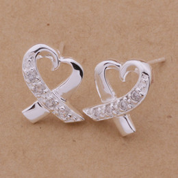 Wholesale Cute Stud Earrings Cheap - cheap factory price Beautiful fashion 925 sterling silver cute pretty Lady HOT CZ noble crystal stud earring jewelry AE150
