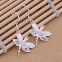 Wholesale Cute Cheap Jewelry Free Shipping - free shipping cheap Beautiful fashion 925 sterling silver cute pretty Lady Dragonfly CZ crstayl lovely earring jewelry E09
