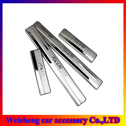 4Pcs/set Chrome Door Sill for Ford Focus 2012 Up Stainless Steel Door Sill Scuff Plates Free Shipping