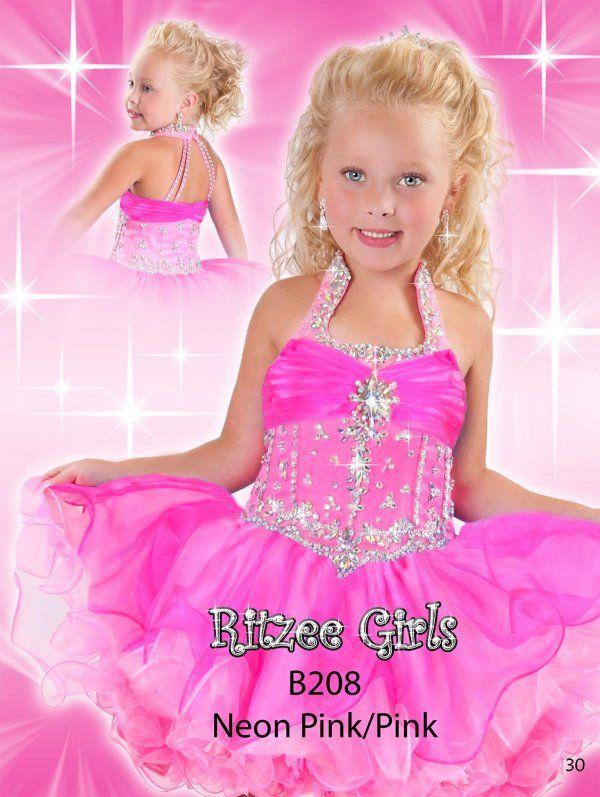 La migliore vendita 2018 Cupcake little Kids Eccezionale in rilievo di cristallo Organza Toddler breve Pageant Dress Flower Girl Abiti Ritz9821