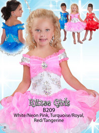 Wholesale Toddler Off White Lace Dress - Best selling 2018 Cupcake little Kids Outstanding Beaded crystal Organza Toddler short Pageant Dress Flower Girl Dresses cap sleeve Ritz9821