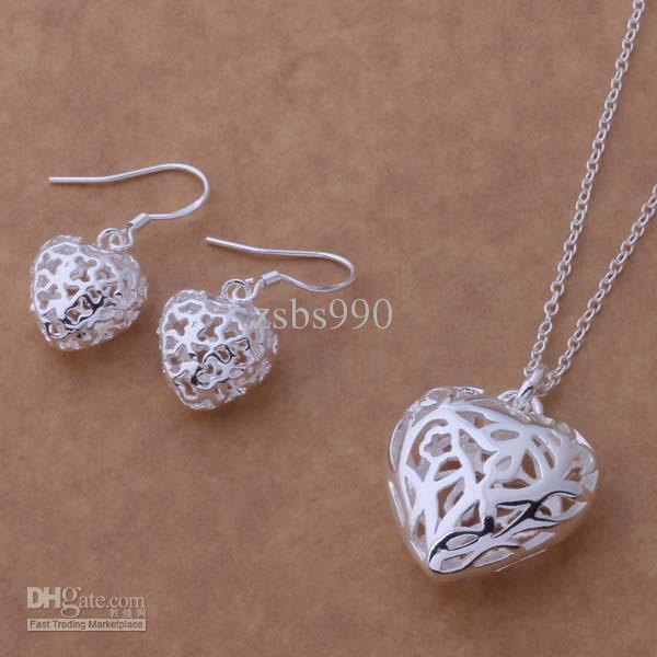 Blandade mode smycken set 925 silver halsband örhängen för kvinnor att skicka sin flickvän / fru gåvor gratis frakt /