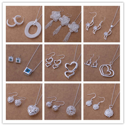 Wholesale jewelry sets rhinestone 925 - Mixed Fashion Jewelry Set 925 Silver necklace & earrings for women to send his girlfriend   wife gifts free shipping 9set lot