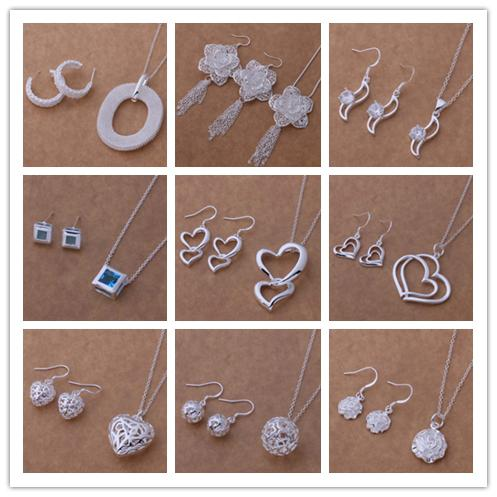 best selling Mixed Fashion Jewelry Set 925 Silver necklace & earrings for women to send his girlfriend   wife gifts free shipping 9set lot