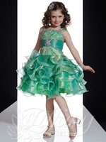 Wholesale infant pageant dresses red - Custom made 2018 Princess little Kids Outstanding Beaded crystal Organza straps Infant Pageant Dress Flower Girl Dresses Ritz90833