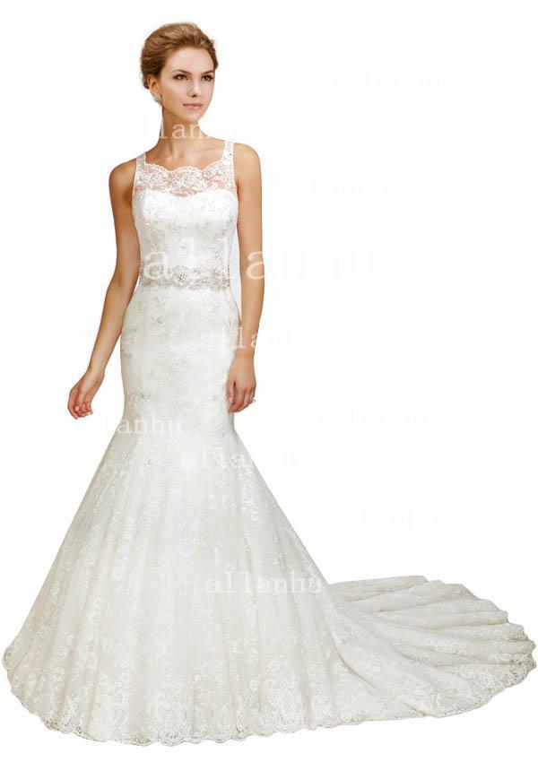 2013 Hot Sale Mermaid Wedding Dress Spaghetti With Illusion Neck Elegant Lace Bridal Gown BO2645