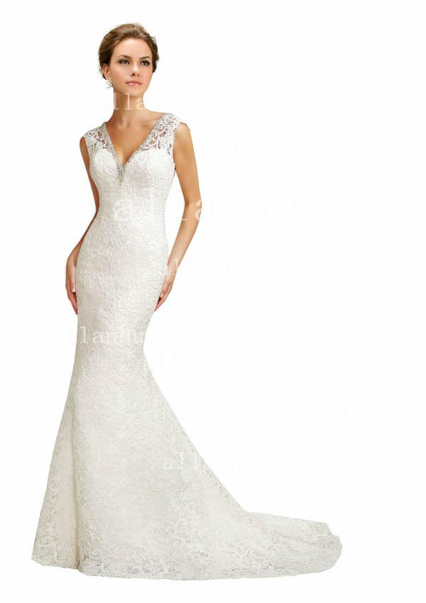 2013 Hot Sale Mermaid Wedding Dress Sexy V-neck With Sheer Shoulder Sexy V Back Elegant Lace Bridal Gown BO2646