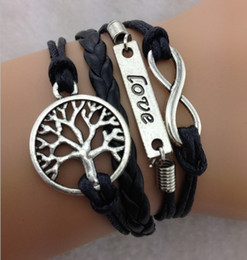 Infinity Love Tree Life Bracelet Canada - Hot sale Love Bracelets infinity Silver Tree of Life Bracelet One directions with black Braided leather Bracelets Jewelry hy234