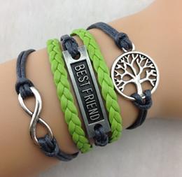 Wholesale One Friend - Best friend Bracelets infinity Silver Tree of Life Bracelet One directions with green Braided leather Bracelets Jewelry hy948 20pcs lot