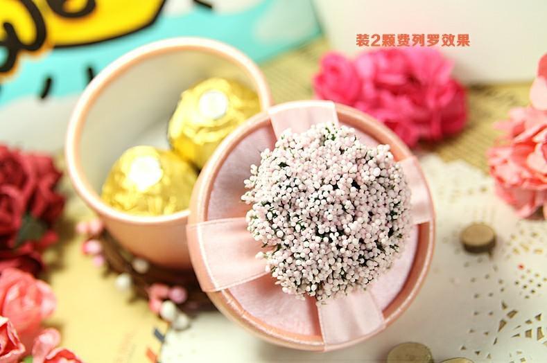 Lavanda romántica cajas de dulces de papel púrpura amarillo rojo rosa favores de la boda del regalo del partido cajas redondas 100 unids / lote