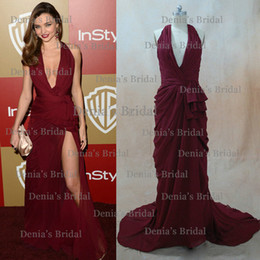 Wholesale Peplum V Neck Dress - Miranda Kerr Celebrity Dresses Sexy Dark Wine Red Halter Side Slit Red Carpet Evening Party Gowns