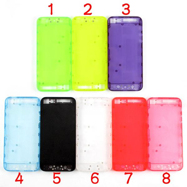 For iPhone 5 Transparent Clear Plastic Back Battery Housing Cover Battery Door Replacement With Small Parts 8 Colors Translucent Mod Kit