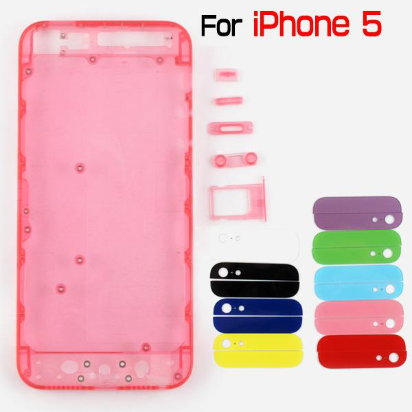 For iPhone 5 Transparent Clear Plastic Back Battery Housing Cover Battery Door Replacement With Small Parts Translucent Mod Kit