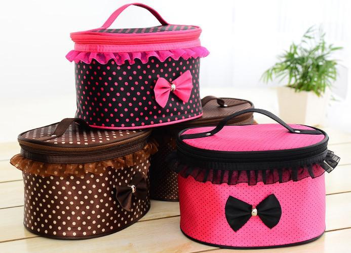 Bolsas de Cosméticos de moda Dots Lace Bowknot Maquillaje bolsas de gran capacidad Bolsas de almacenamiento portátil bolso colores mezclados espejo Wash gárgaras bolsa