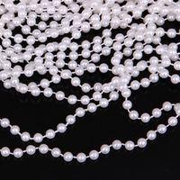 Wholesale round pearl garland - 20 Meter White Round Pearl Garland Wedding Centerpiece Decoration Trim Size 4mm