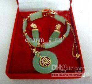 Noblest green jade 18k gold filled link pendant bracelet earrings necklace jewelry set