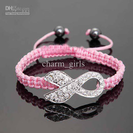 Wholesale Breast Cancer Charms - Wholesale - 10pcs* Pink Rhinestone Crystal Ribbon Charms Breast Cancer Awareness Macrame Adjustable Bracelets
