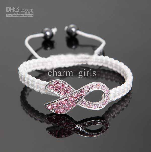 10pcs* Pink Rhinestone Crystal Ribbon Charms Breast Cancer Awareness Macrame Adjustable Bracelets