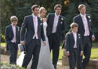 Wholesale Charcoal Suit Silver Tie - Morning Style Groom Tuxedos Charcoal Grey Peak Lapel Groomsman Men Wedding Suits Prom Form Bridegroom (Jacket+Pants+Tie+Vest+Hanky)J128