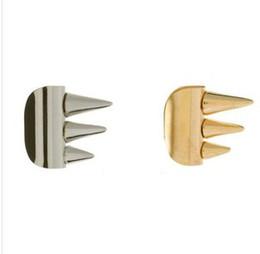 Wholesale Punk Rock Spike Earrings - Gothic Punk Vintage Silver Gold Spike Rivet Ear Cuff Earrings Cuff Jewelry Rock Jewelry 12pCS lot PM1