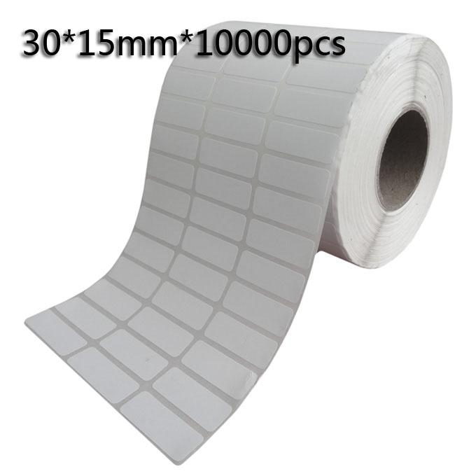 30*15mm*Thermal transfer blank barcode Labels,art paper adhesive printed label sticker,