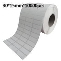 etiquetas de impressão térmica venda por atacado-30 * 15mm * 10000 pcs Etiquetas de código de barras de transferência térmica em branco, papel de arte adesivo impresso etiqueta autocolante, Frete grátis