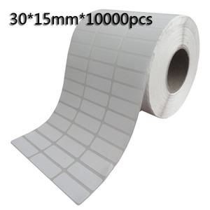 30*15mm*10000pcs Thermal transfer blank barcode Labels,art paper adhesive printed label sticker,Free shipping