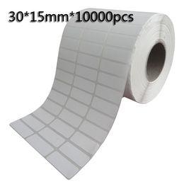 30 * 15mm * 10000pcs étiquettes vierges à transfert thermique code à barres, papier autocollant imprimé étiquette autocollant, livraison gratuite ? partir de fabricateur