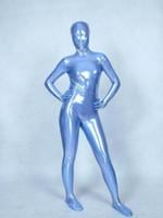 Wholesale Rubber Latex Suit Catsuit - Pro Light Blue Full Body Spandex Latex Rubber Zentai Suit Bodysuit Adult Size B035