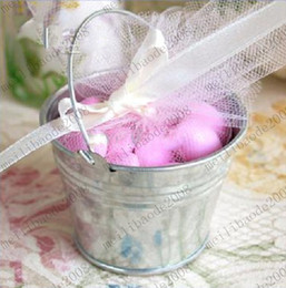 Wholesale Galvanized Buckets Wedding - Dia 6.6cm 8.4cm 11cm 13.2cm Galvanized Mini Pails Wedding Favors Mini Bucket Candy Boxes Favors MYY6295