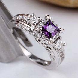 Wholesale Custom Sterling Silver Rings - R156 Pure 925 Sterling Silver Ring Women Square Purple Amethyst Anniversary Band Ring WEDN Custom Birthday Gift
