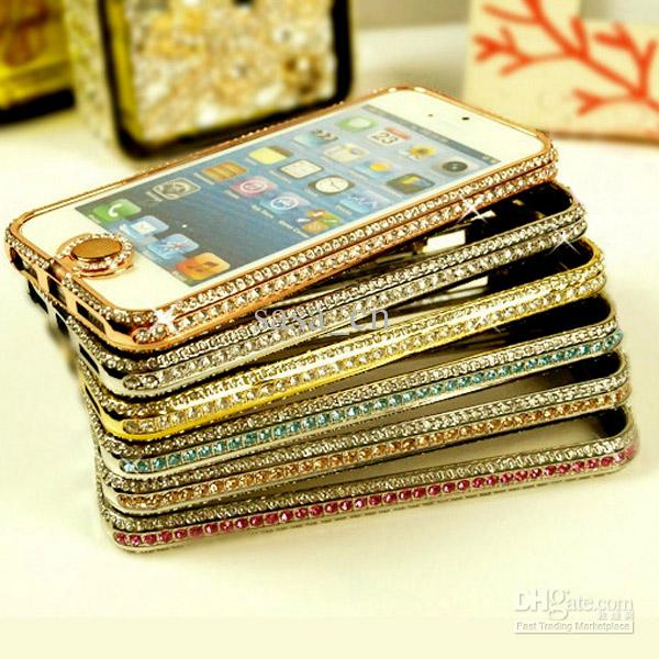 Caso de diamante Bling para iphone5 5 5S Rhinestone Crystal marco de metal de aluminio Bumper Hard Cover Bling Button con paquete al por menor 2015
