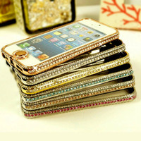 Wholesale Iphone5 Frame Aluminium - Diamond Bling Case for iphone5 5 5S Rhinestone Crystal Aluminium Metal Frame Bumper Hard Case Cover Bling Button with Retail Package 2015