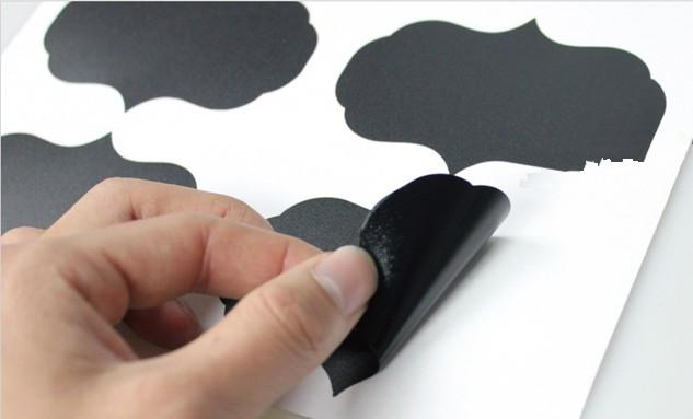 Popular caliente Tamaño grande 6 cm x 9 cm vinilo pizarra etiqueta adhesiva pizarra pegatinas de pared etiqueta grande para etiquetar tarros