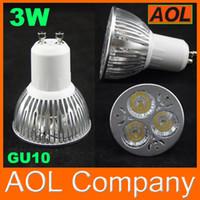 Wholesale Energy Saving E14 Led - 3W GU10 E27 E14 MR16 White Warm White LED Light Lamp Bulb energy saving Spotlight bulbs 12V 110-220V 3*1w downlight