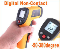termómetros digitales infrarrojos al por mayor-Sensor de temperatura infrarrojo de la punta de prueba del termómetro del laser del IR Digital sin contacto del LCD