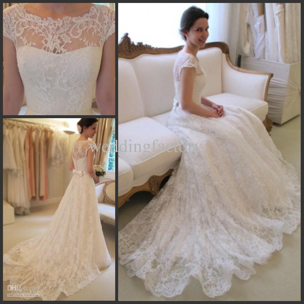 Discount Hot Sale Charming Bateau Neck Lace Wedding Dresses A Line ...