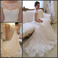 Wholesale Charming Lace Dress Sleeves - Hot Sale Charming Bateau Neck Lace Wedding Dresses A Line Cap Sleeves Bridal Gowns with Sash Bow Sweep Train Custom Made