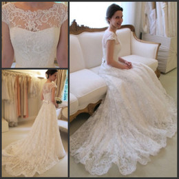 Wholesale Image Sexy Hot - Hot Sale Charming Bateau Neck Lace Wedding Dresses A Line Cap Sleeves Bridal Gowns with Sash Bow Sweep Train Custom Made