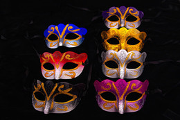 Wholesale Masquerade Halloween Costume - Express Shipping Promotion Selling Party Mask With Gold Glitter Mask Venetian Unisex Sparkle Masquerade Venetian Mask Mardi Gras Costume