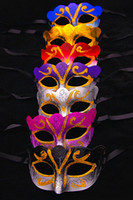 Wholesale gold masquerades - Promotion Selling Party Mask With Gold Glitter Mask Venetian Unisex Sparkle Masquerade Venetian Mask Mardi Gras Masks Masquerade Halloween