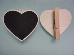 Canada 50pcs pince en forme de coeur en bois mini tableau noir message note mémo conseil pour les faveurs de mariage école bureau fête salle à manger babillard Offre