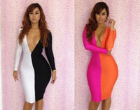 Wholesale Sexy Low Cut White Dress - Hot Sexy Women Cocktail Long Sleeve V Neck Badycon Fashion Evening Dresses Party Prom Club Wear Low-cut Bodycon Dress Black white LYQ1361