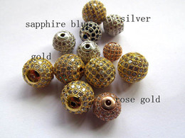Wholesale Gold Spacers Mixed - AAA grade 6mm 8mm 10mm 12mm 20pcs pave metal spacer &cubic zirconia crysatl silver rose gold black mixed jewelry beads