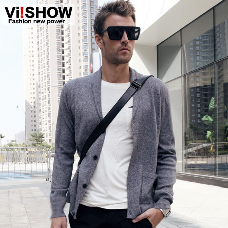 2018 Mens V Neck Sweaters Grey Lapel Collar Cardigan Sweaters For ...